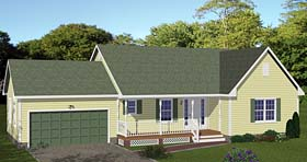 Traditional , Ranch House Plan 40642 with 3 Beds, 2 Baths, 2 Car Garage Elevation