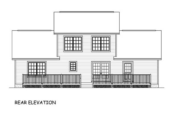 Country Southern Traditional House Plan 40644 Rear Elevation