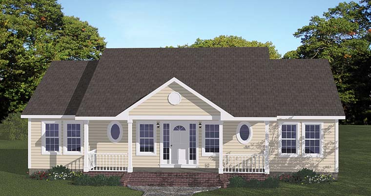 Ranch , Traditional , Elevation of Plan 40649