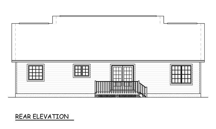 Ranch , Traditional , Rear Elevation of Plan 40649
