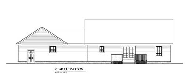 Traditional , Southern House Plan 40651 with 3 Beds, 2 Baths Rear Elevation