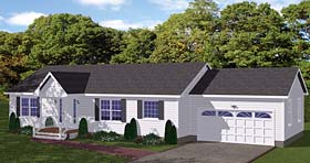House Plan 40653 | Ranch Traditional Style Plan with 1345 Sq Ft, 3 Bedrooms, 2 Bathrooms, 2 Car Garage Elevation