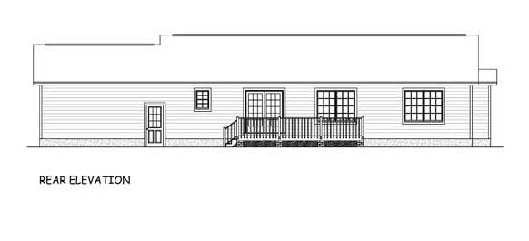 House Plan 40653 | Ranch Traditional Style Plan with 1345 Sq Ft, 3 Bedrooms, 2 Bathrooms, 2 Car Garage Rear Elevation