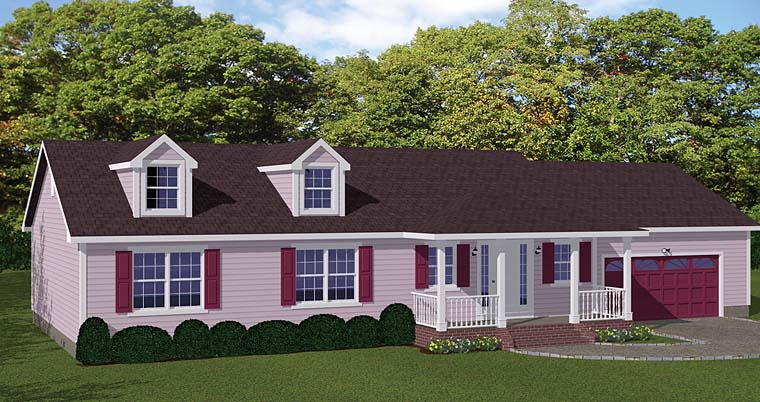 Ranch, Traditional House Plan 40665 with 3 Beds, 3 Baths, 2 Car Garage Elevation