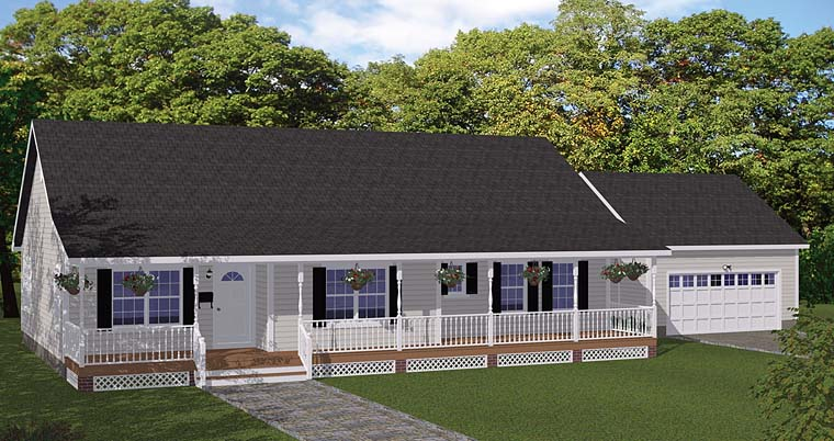 Country, Ranch, Southern, Traditional House Plan 40668 with 3 Beds, 3 Baths, 2 Car Garage Elevation