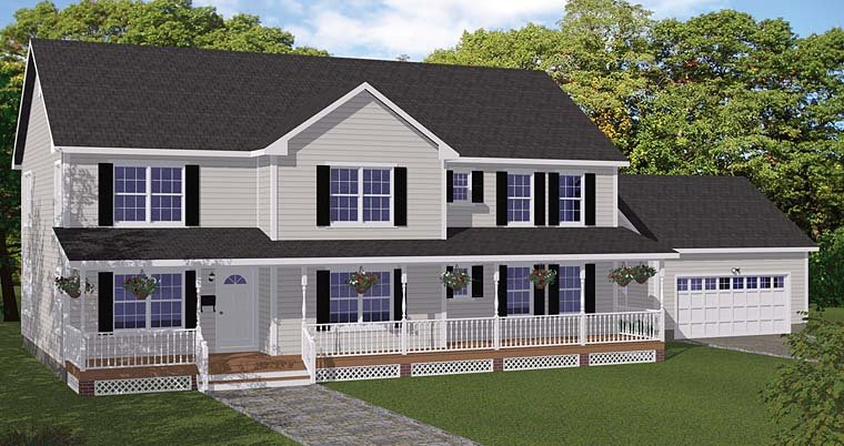 Colonial Country Southern Traditional Elevation of Plan 40669