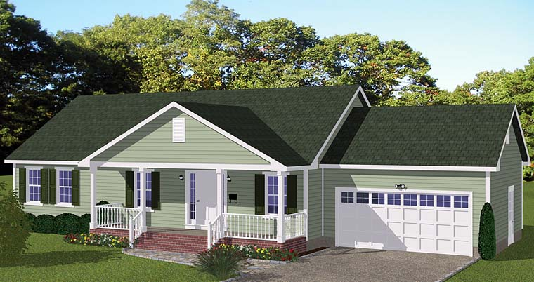 Ranch, Traditional House Plan 40673, 2 Car Garage Elevation
