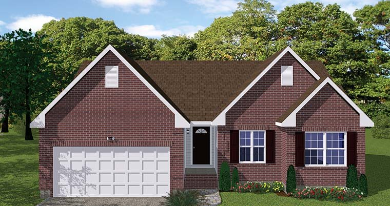 Traditional House Plan 40674 with 3 Beds, 2 Baths, 2 Car Garage Elevation