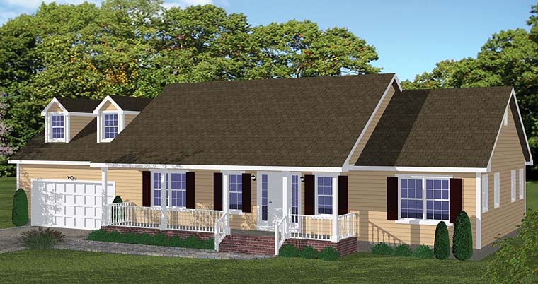 Country Ranch Traditional House Plan 40675 Elevation