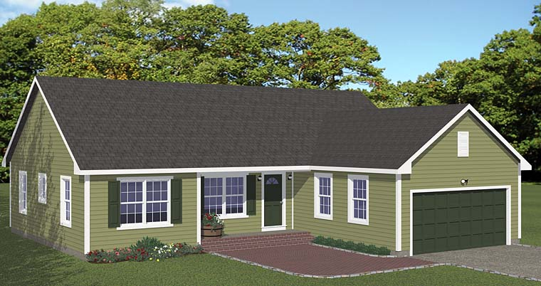 Ranch Traditional Elevation of Plan 40677
