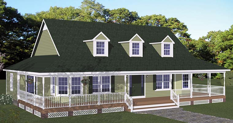 Country Farmhouse Southern Elevation of Plan 40678