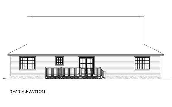 Country Farmhouse Southern Rear Elevation of Plan 40678