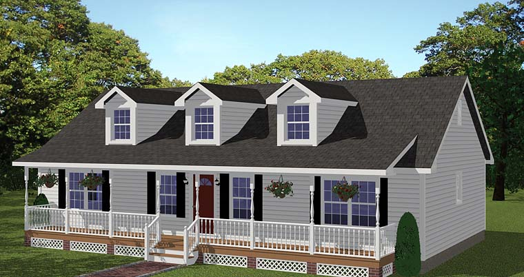 Country Ranch Southern Elevation of Plan 40683