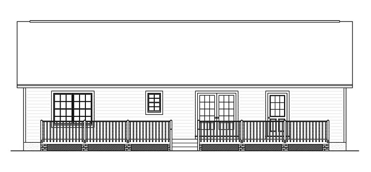 Country Ranch Southern Rear Elevation of Plan 40683