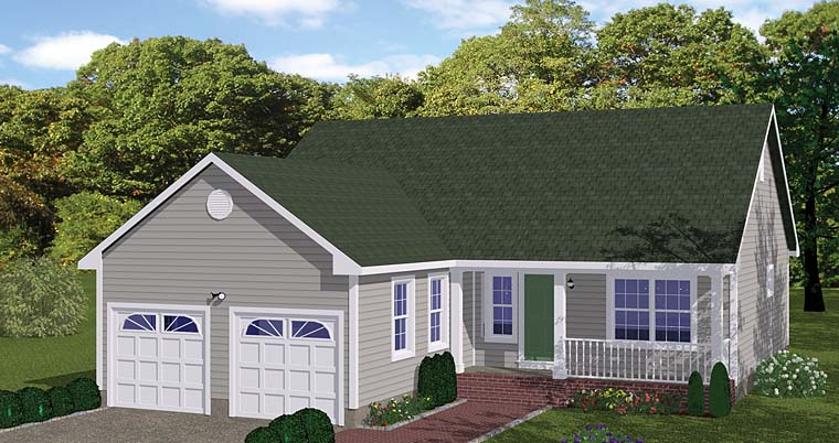 Ranch , Traditional House Plan 40685 with 3 Beds, 2 Baths, 2 Car Garage Elevation