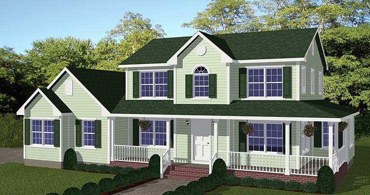 Country, Farmhouse, Southern House Plan 40687 with 4 Beds , 3 Baths , 2 Car Garage Elevation