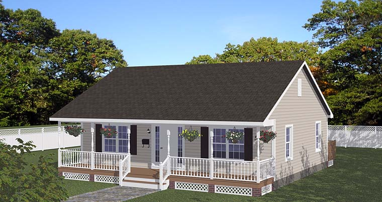 House Plan 40695 with 2 Beds, 1 Baths Elevation