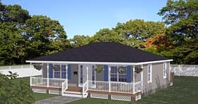 Southern , Traditional House Plan 40696 with 2 Beds, 1 Baths Elevation