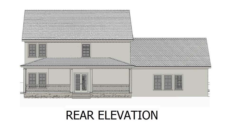 Colonial Southern Traditional House Plan 40704 Rear Elevation