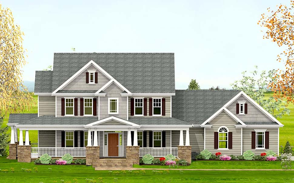 Country, Craftsman, Farmhouse, Southern House Plan 40717 with 3 Beds, 4 Baths, 2 Car Garage Elevation