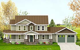 Craftsman Farmhouse Southern Traditional House Plan 40732 Elevation