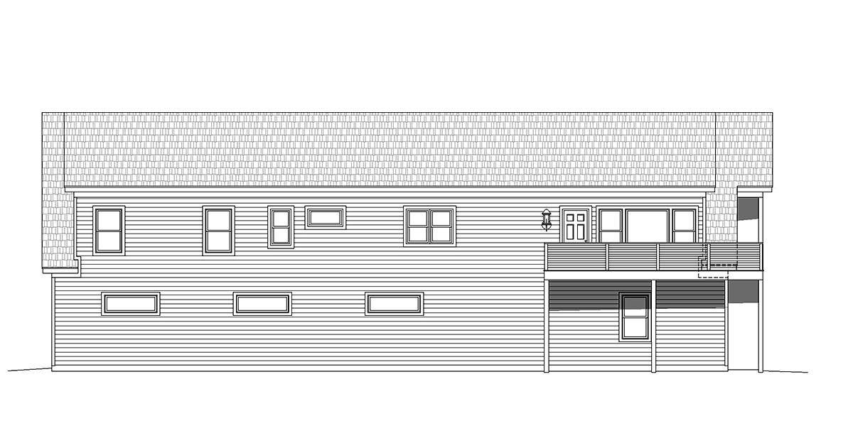 Country Traditional Rear Elevation of Plan 40801