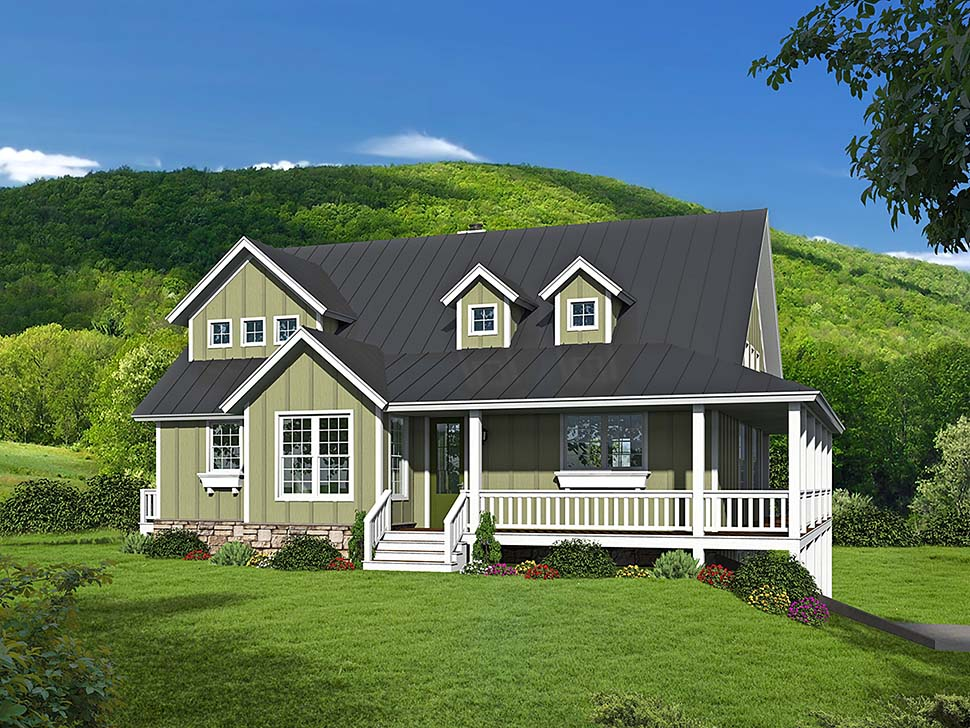 Traditional , Farmhouse , Country House Plan 40802 with 3 Beds, 2 Baths, 2 Car Garage Elevation