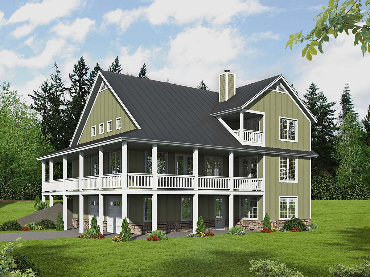 Traditional , Farmhouse , Country House Plan 40802 with 3 Beds, 2 Baths, 2 Car Garage Rear Elevation