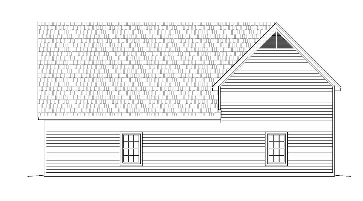 Ranch , Traditional , Rear Elevation of Plan 40803