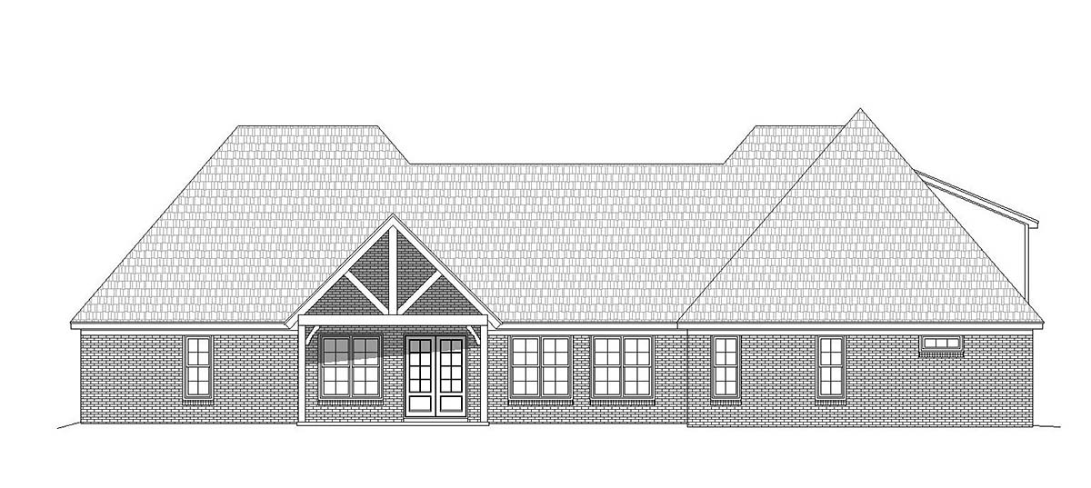 Craftsman , European , French Country House Plan 40804 with 3 Beds, 4 Baths, 3 Car Garage Rear Elevation