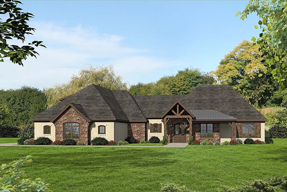 Craftsman , European , French Country House Plan 40805 with 3 Beds, 4 Baths, 3 Car Garage Elevation