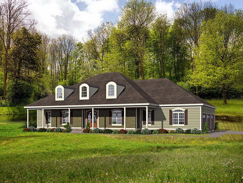 Country , Farmhouse , Ranch , Traditional , Elevation of Plan 40806