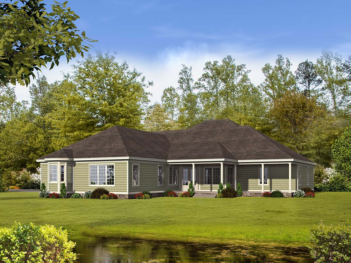 Country , Farmhouse , Ranch , Traditional , Rear Elevation of Plan 40806