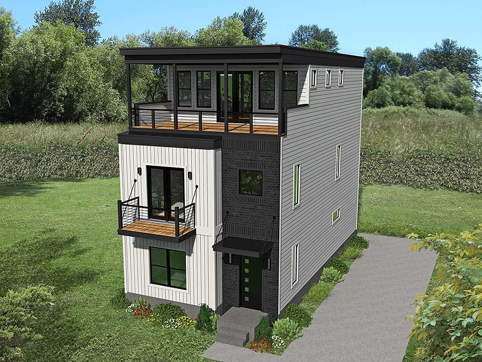 Coastal, Contemporary, Modern 0 Car Garage Plan 40812 with 3 Beds, 4 Baths Elevation
