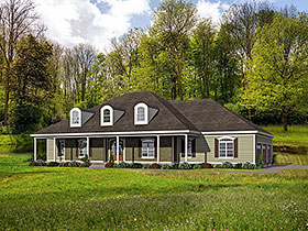 Country , Ranch , Traditional House Plan 40814 with 4 Beds, 4 Baths, 3 Car Garage Elevation
