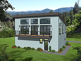 Modern , Contemporary House Plan 40817 with 1 Beds, 2 Baths, 3 Car Garage Elevation