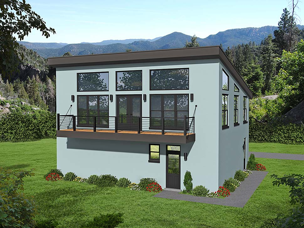 Contemporary , Modern House Plan 40817 with 1 Beds, 2 Baths, 3 Car Garage Elevation