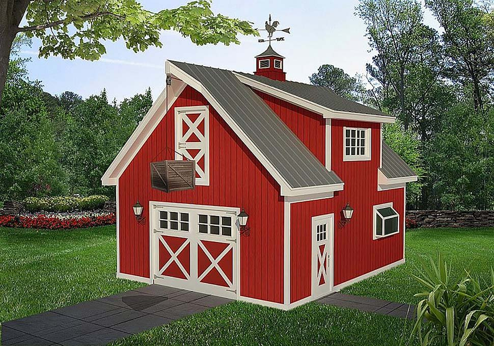 Country , Farmhouse , Saltbox 1 Car Garage Plan 40818 Elevation