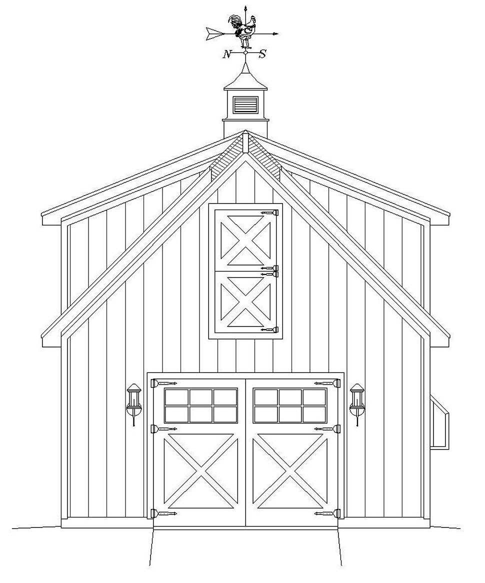 Country, Farmhouse, Saltbox 1 Car Garage Plan 40818 Picture 3