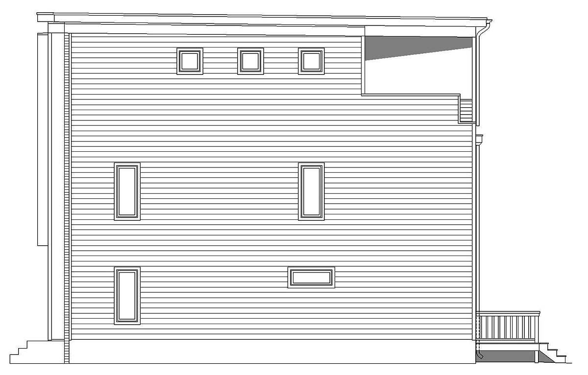 Contemporary, Modern, Narrow Lot House Plan 40819 with 3 Beds, 4 Baths Picture 1