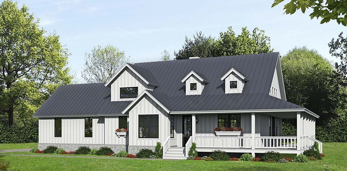 Country Farmhouse Elevation of Plan 40820