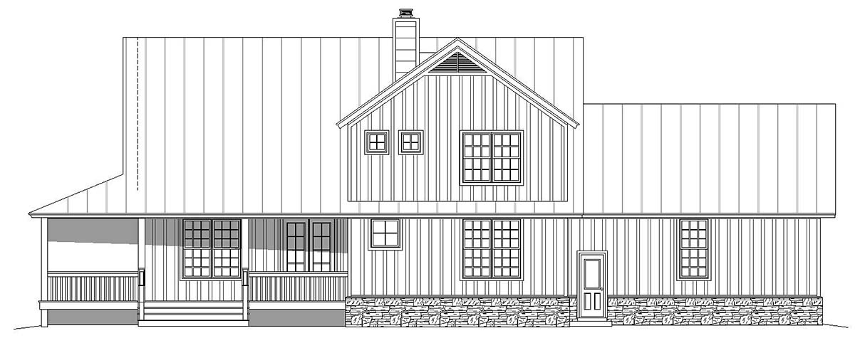 Country Farmhouse Rear Elevation of Plan 40820