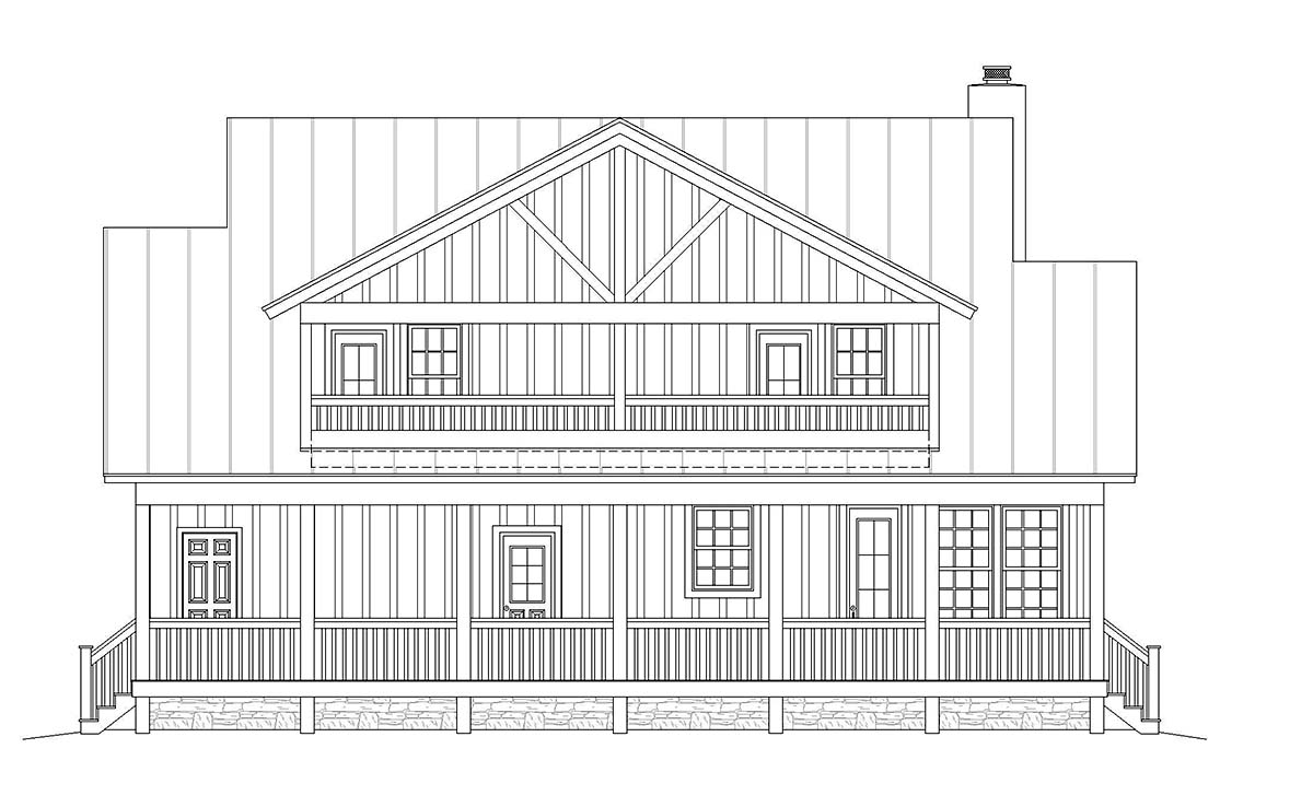 Country Farmhouse Traditional Rear Elevation of Plan 40822