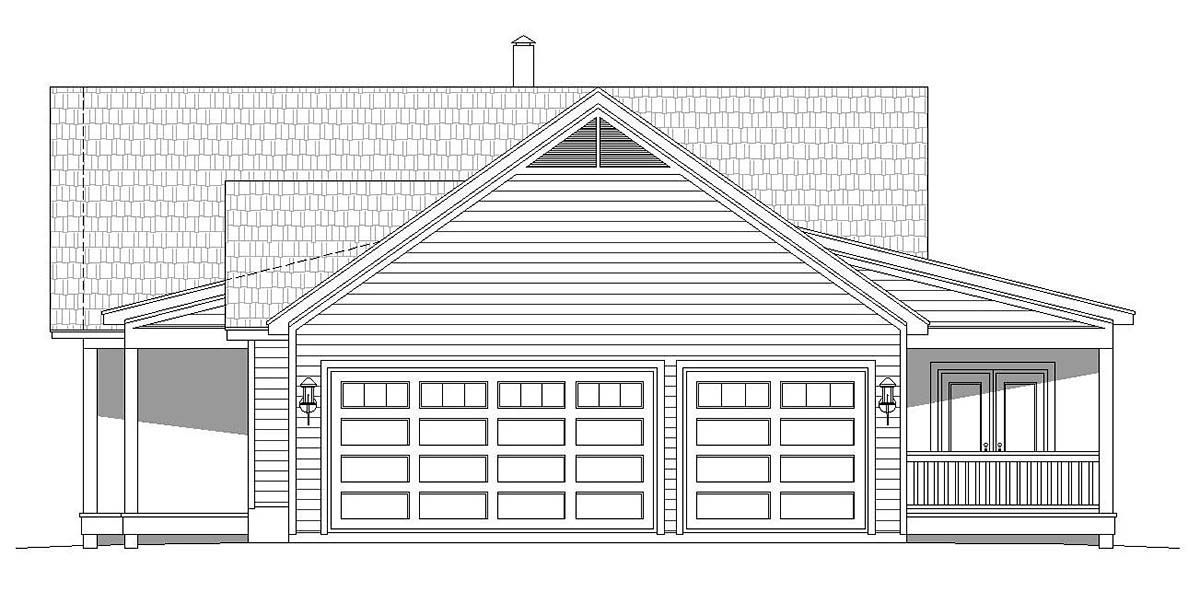 Country, Ranch House Plan 40824 with 2 Beds, 2 Baths, 3 Car Garage Picture 1