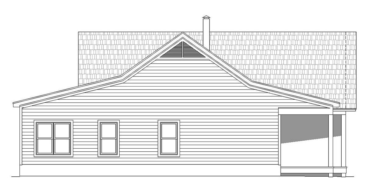 Country, Ranch House Plan 40824 with 2 Beds, 2 Baths, 3 Car Garage Picture 2