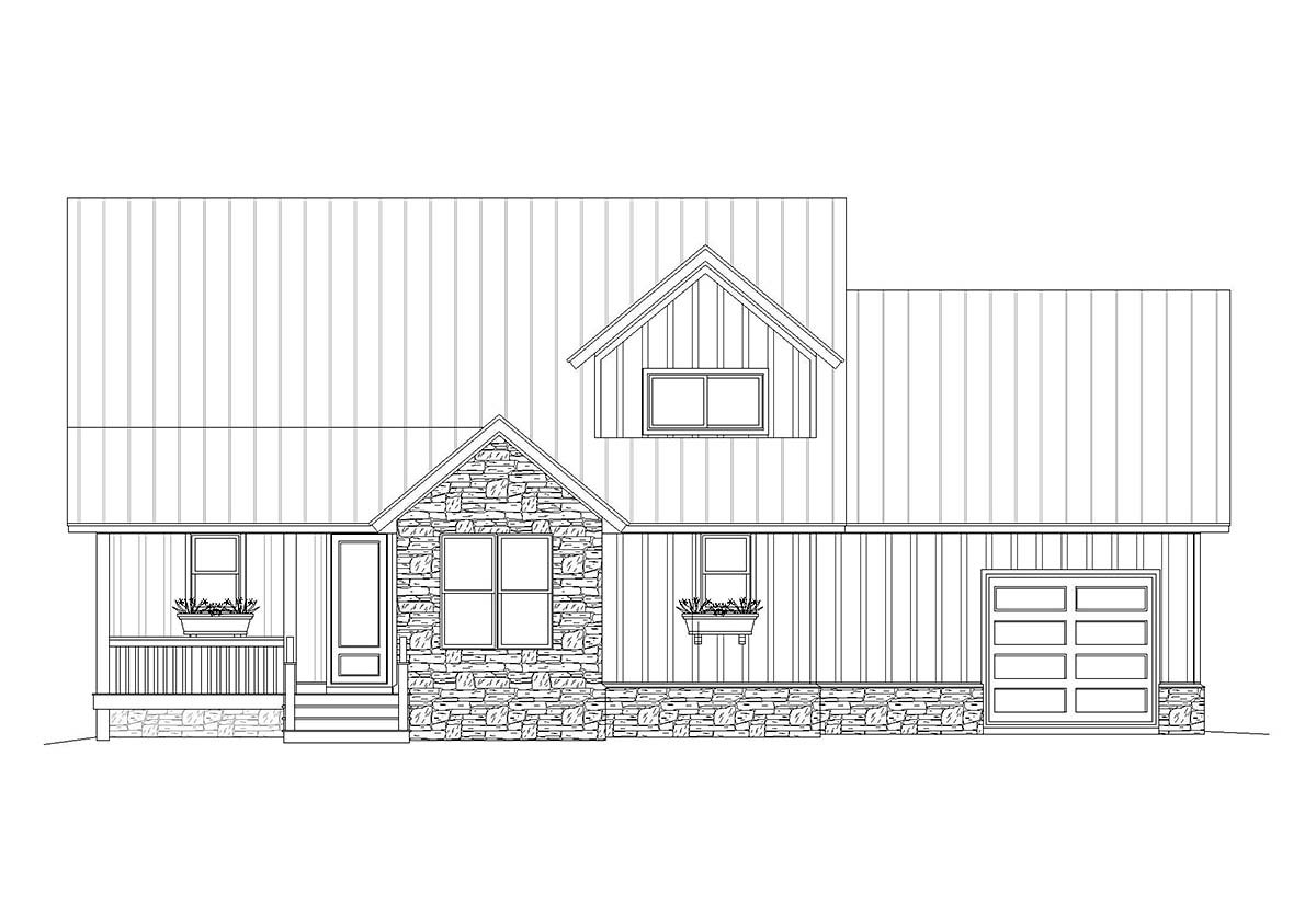 Country, Farmhouse, Traditional House Plan 40825 with 3 Beds, 3 Baths, 1 Car Garage Rear Elevation
