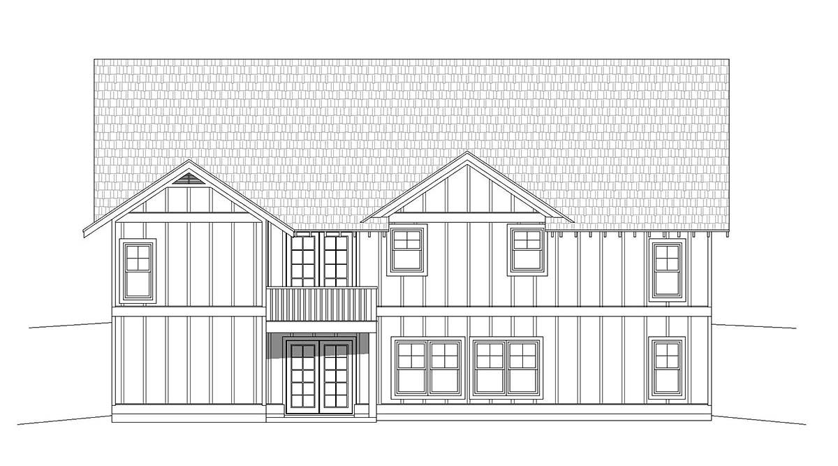 Cottage Craftsman Ranch Rear Elevation of Plan 40826