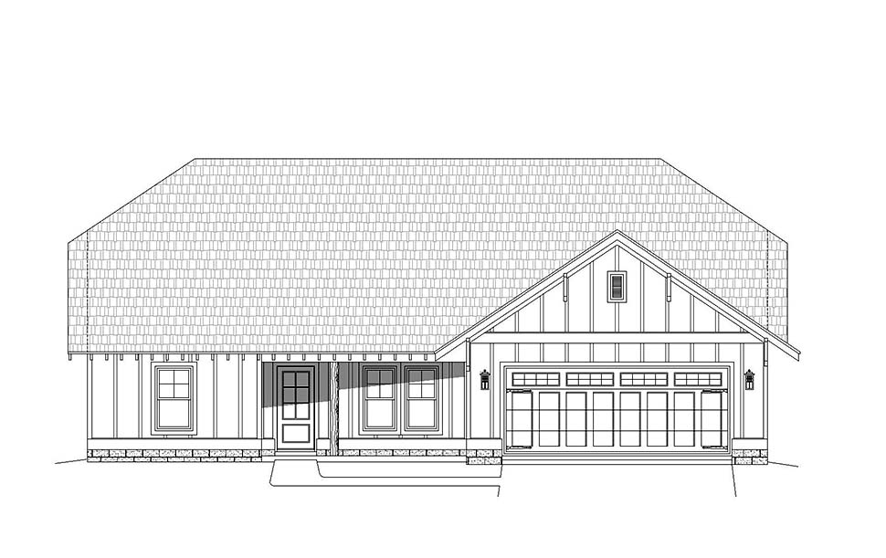 Cottage, Craftsman, Ranch House Plan 40827 with 3 Beds, 3 Baths, 2 Car Garage Picture 3
