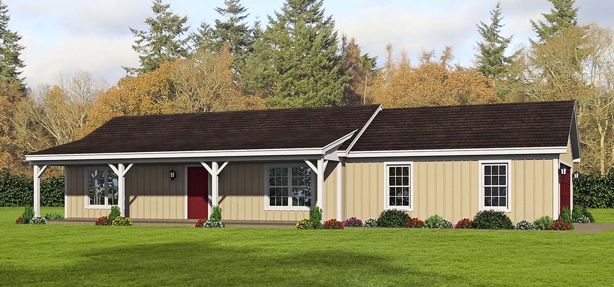 Cottage, Country, Farmhouse, Ranch House Plan 40829 with 2 Beds, 1 Baths, 2 Car Garage Elevation
