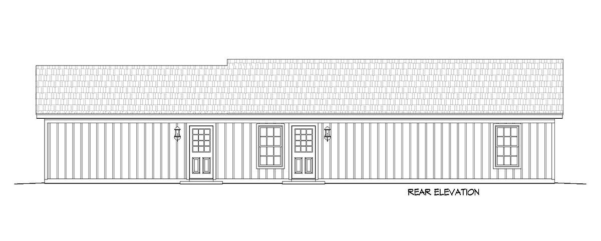 Cottage, Country, Farmhouse, Ranch House Plan 40829 with 2 Beds, 1 Baths, 2 Car Garage Rear Elevation
